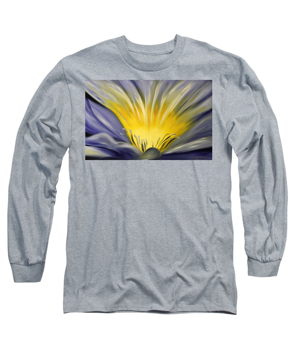 Blue Long Sleeve T-Shirt featuring the painting From The Heart Of A Flower Blue by Gina De Gorna