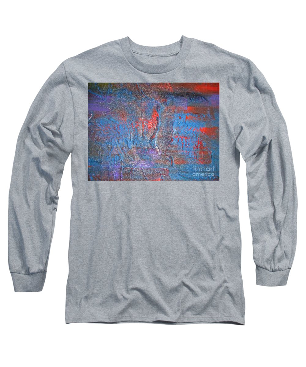 Modern Art Long Sleeve T-Shirt featuring the painting Funny Rain by Silvana Abel