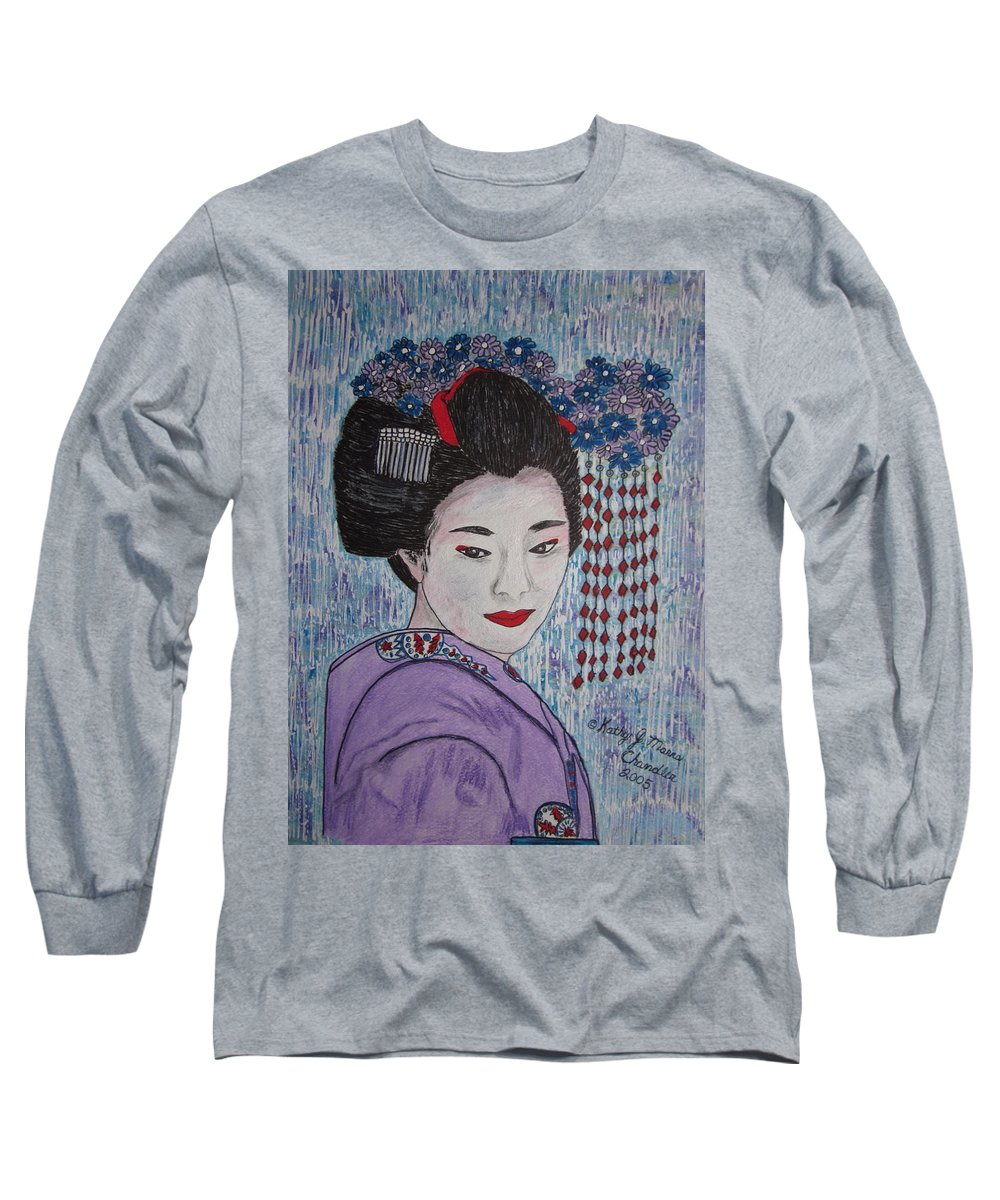 Oriental Long Sleeve T-Shirt featuring the painting Geisha Girl by Kathy Marrs Chandler