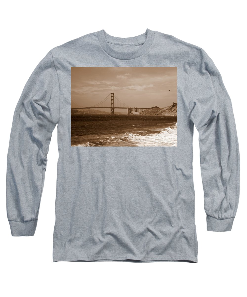 Golden Gate Bridge Long Sleeve T-Shirt featuring the photograph Golden Gate Bridge With Surf Sepia by Carol Groenen