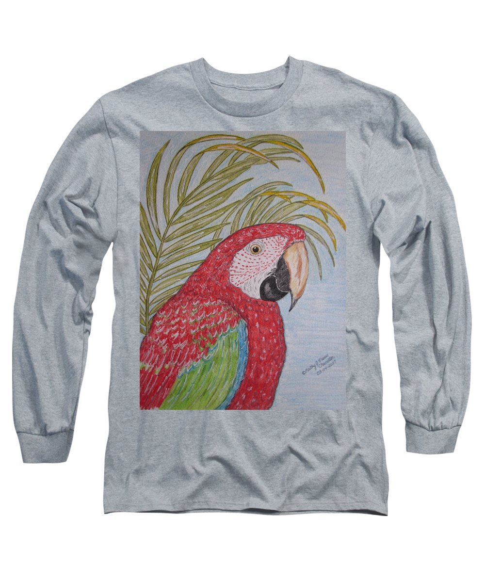 Green Wing Macaw Long Sleeve T-Shirt featuring the painting Green Winged Macaw by Kathy Marrs Chandler