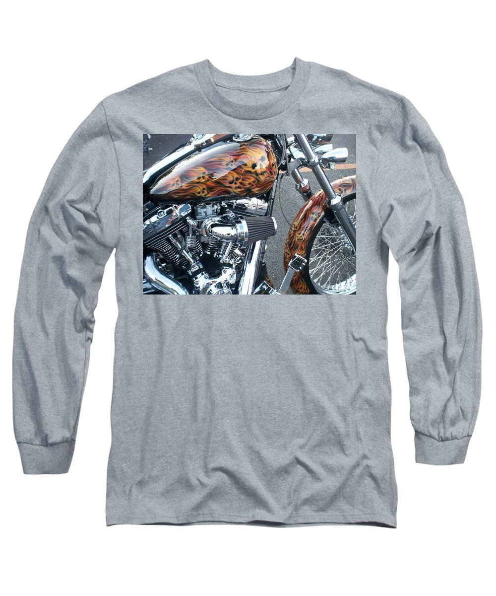 Motorcycles Long Sleeve T-Shirt featuring the photograph Harley Close-up Skull Flame by Anita Burgermeister