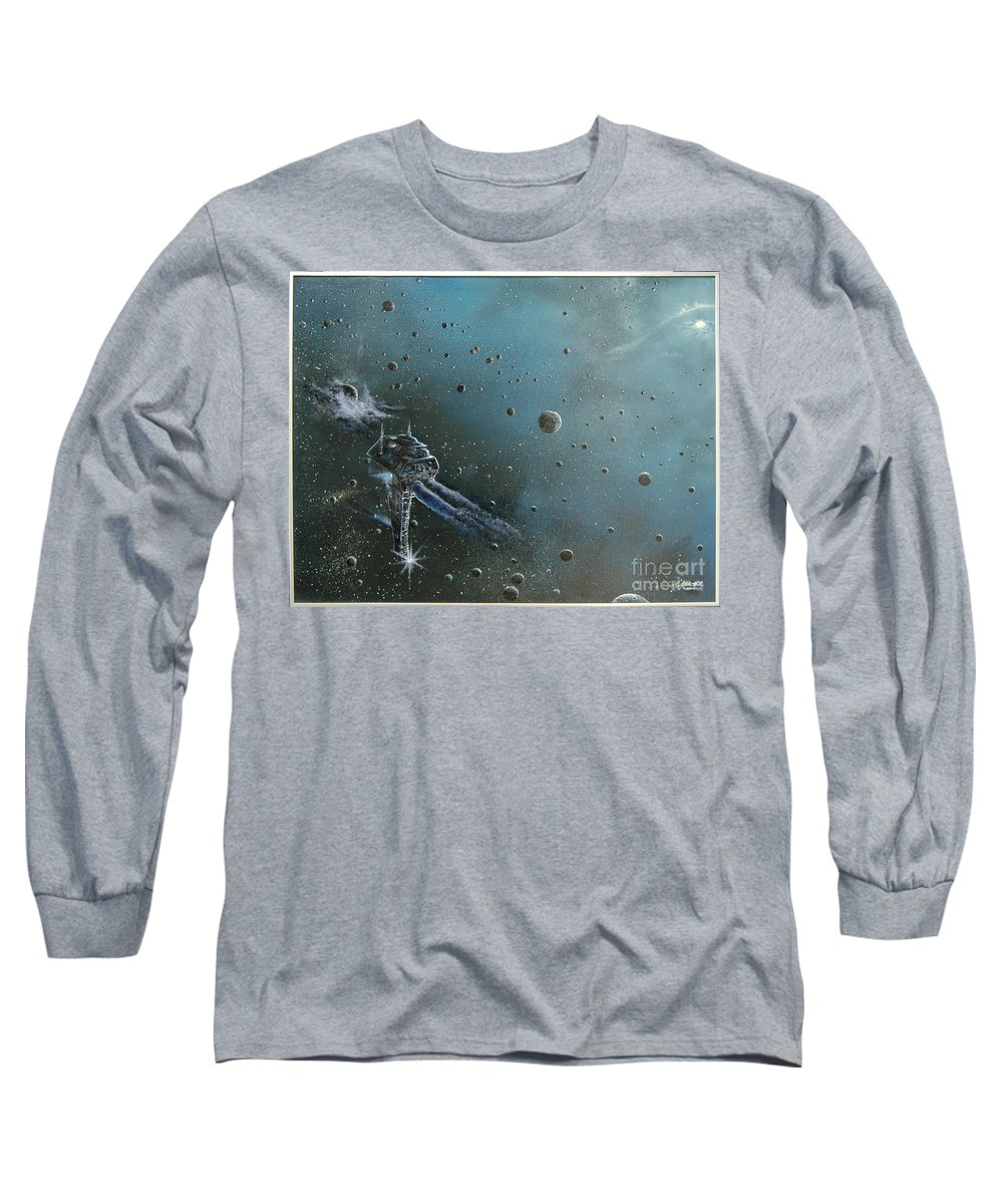 Astro Long Sleeve T-Shirt featuring the painting Hiding In The Field by Murphy Elliott
