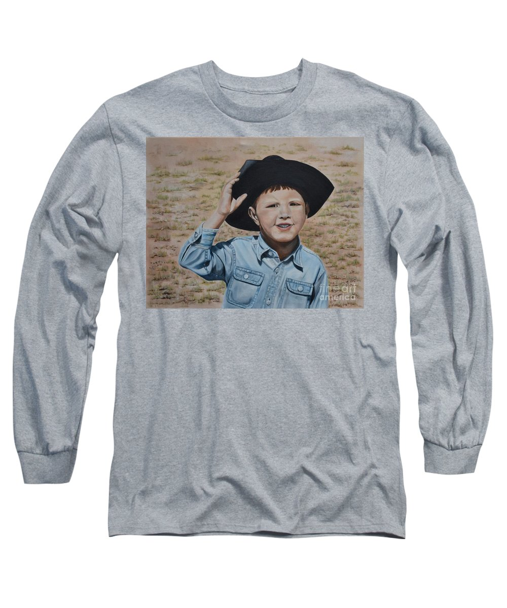 Usa Long Sleeve T-Shirt featuring the painting Howdy Ma'am by Mary Rogers
