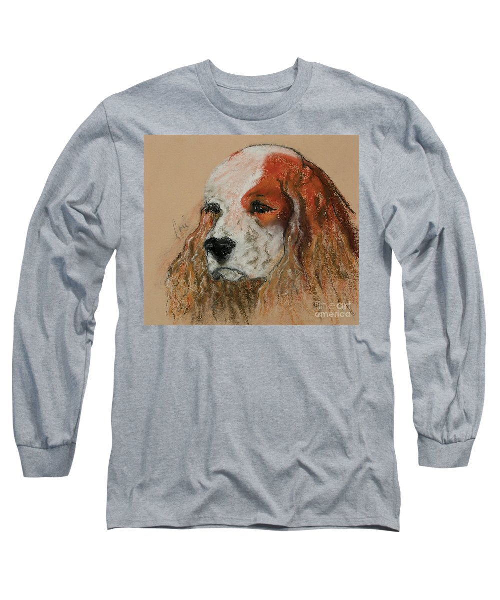 Dog Long Sleeve T-Shirt featuring the pastel Idle Thoughts by Cori Solomon