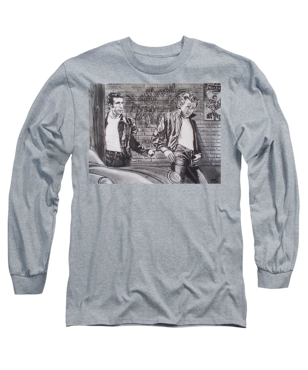 Americana Long Sleeve T-Shirt featuring the drawing James Dean Meets The Fonz by Sean Connolly