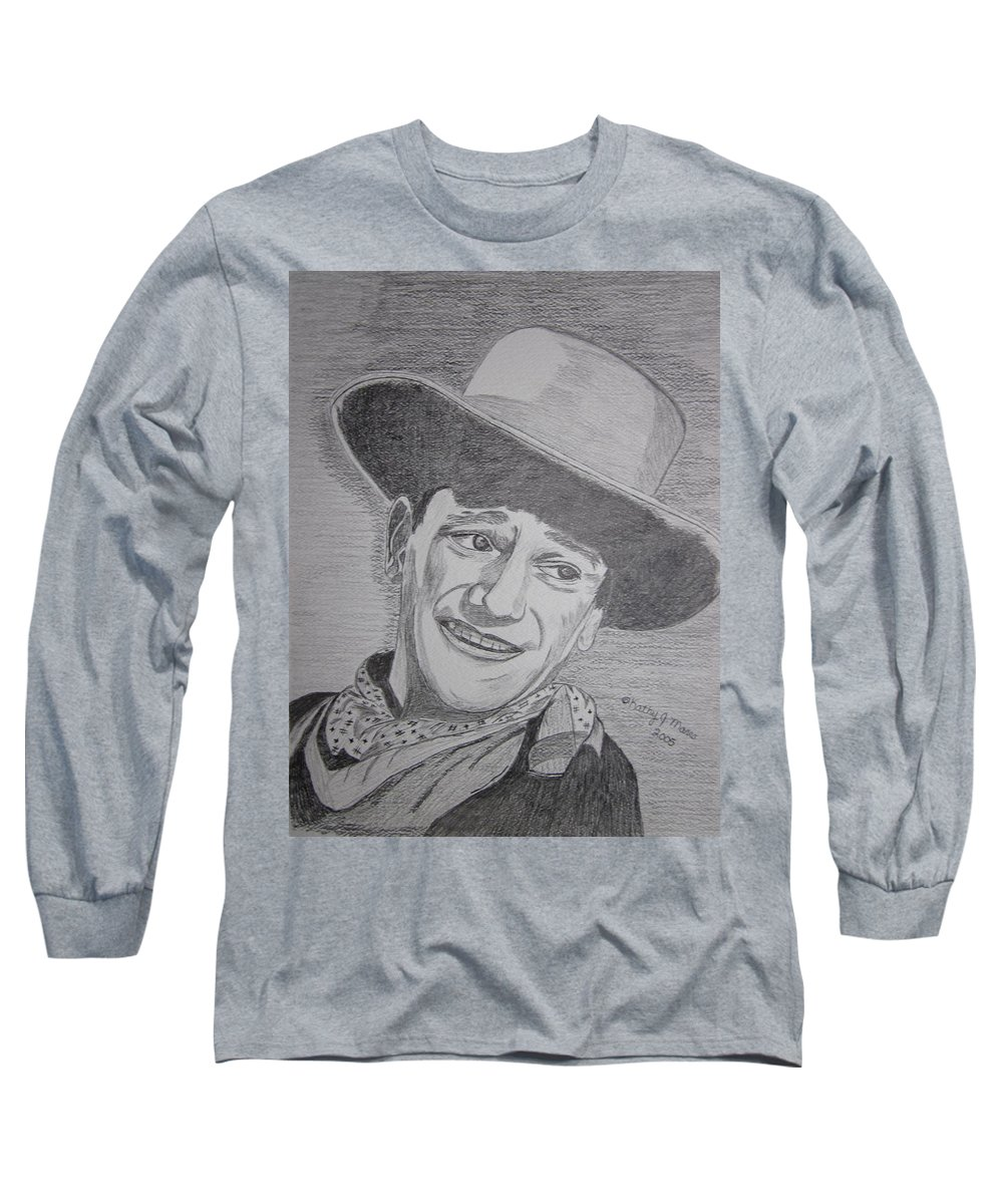 John Wayne Long Sleeve T-Shirt featuring the painting John Wayne by Kathy Marrs Chandler