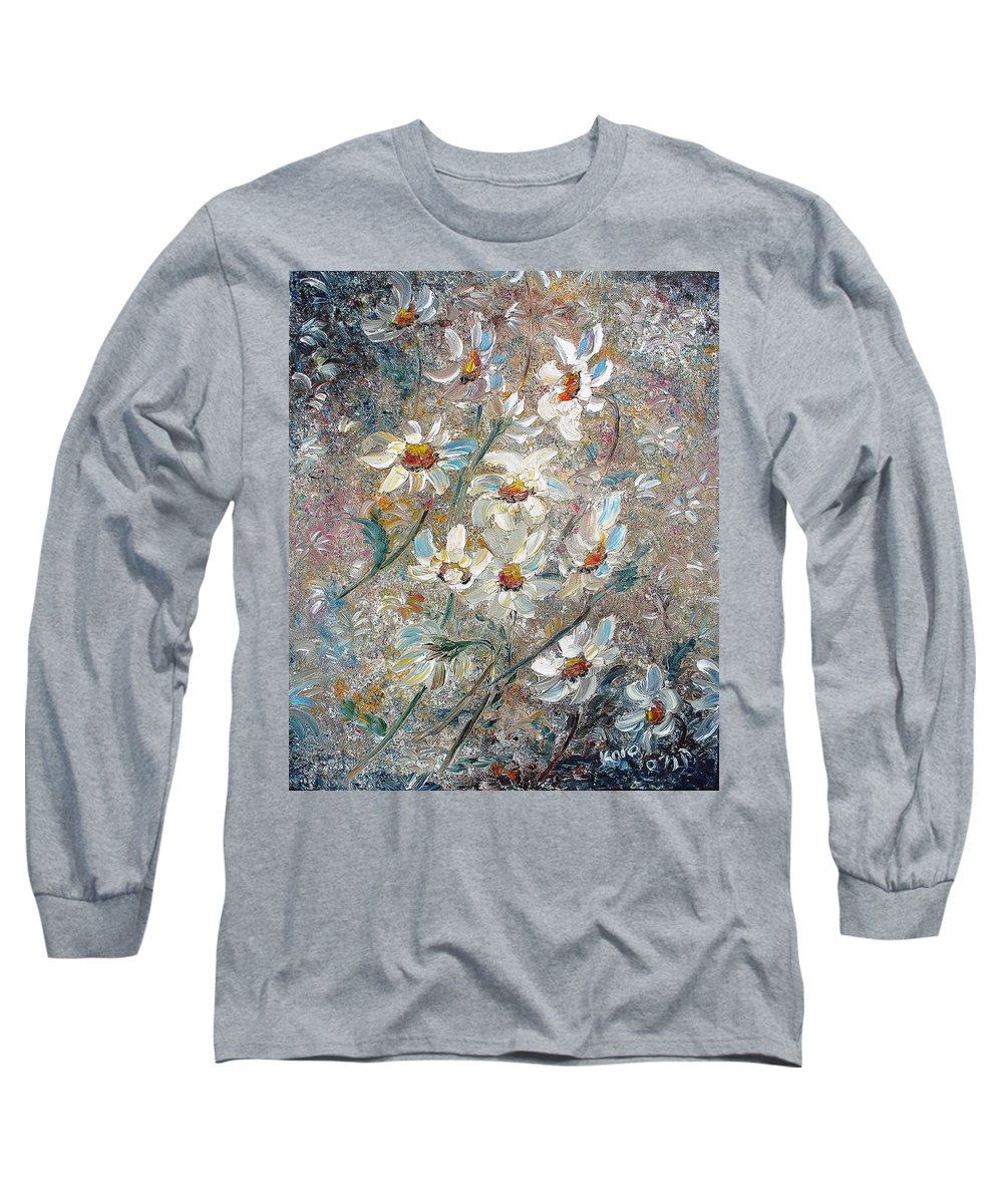 Daisies Painting Abstract Flower Painting Botanical Painting Bloom Greeting Card Painting Long Sleeve T-Shirt featuring the painting Just Dasies by Karin Dawn Kelshall- Best