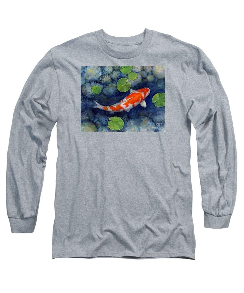 Koi Long Sleeve T-Shirt featuring the painting Koi Pond by Hailey E Herrera