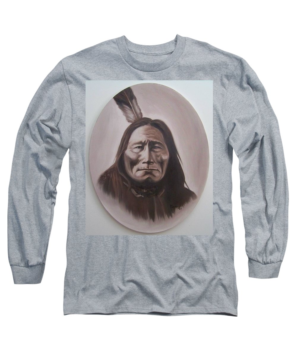 Michael Long Sleeve T-Shirt featuring the painting Long Bear by Michael TMAD Finney