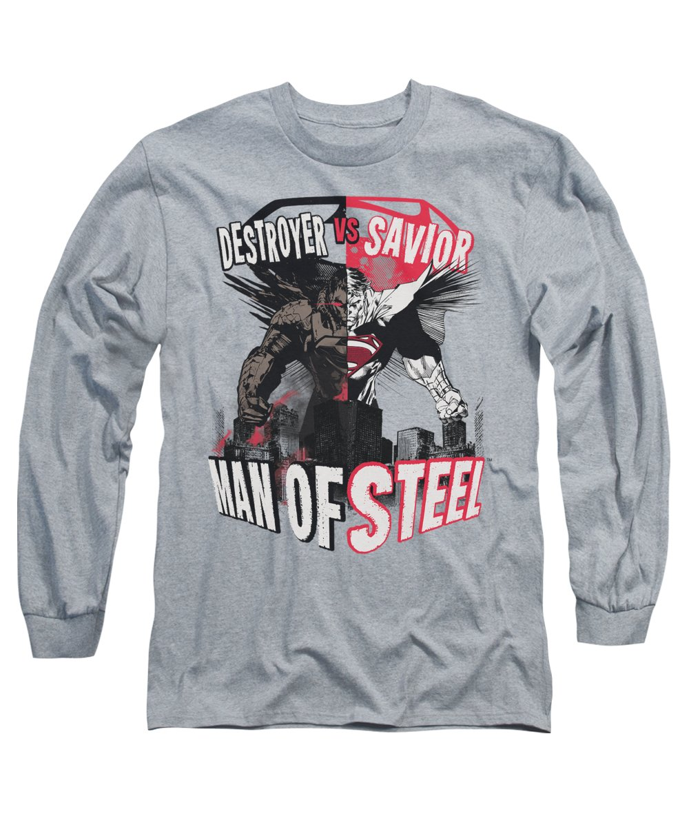 Man Of Steel Long Sleeve T-Shirt featuring the digital art Man Of Steel - Good Vs Evil by Brand A