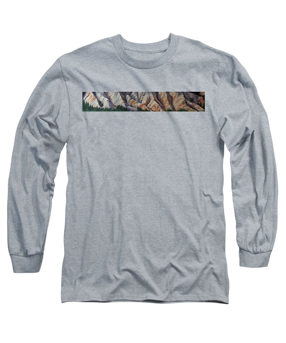 Mountains Long Sleeve T-Shirt featuring the painting Marble Ridge by Elaine Booth-Kallweit
