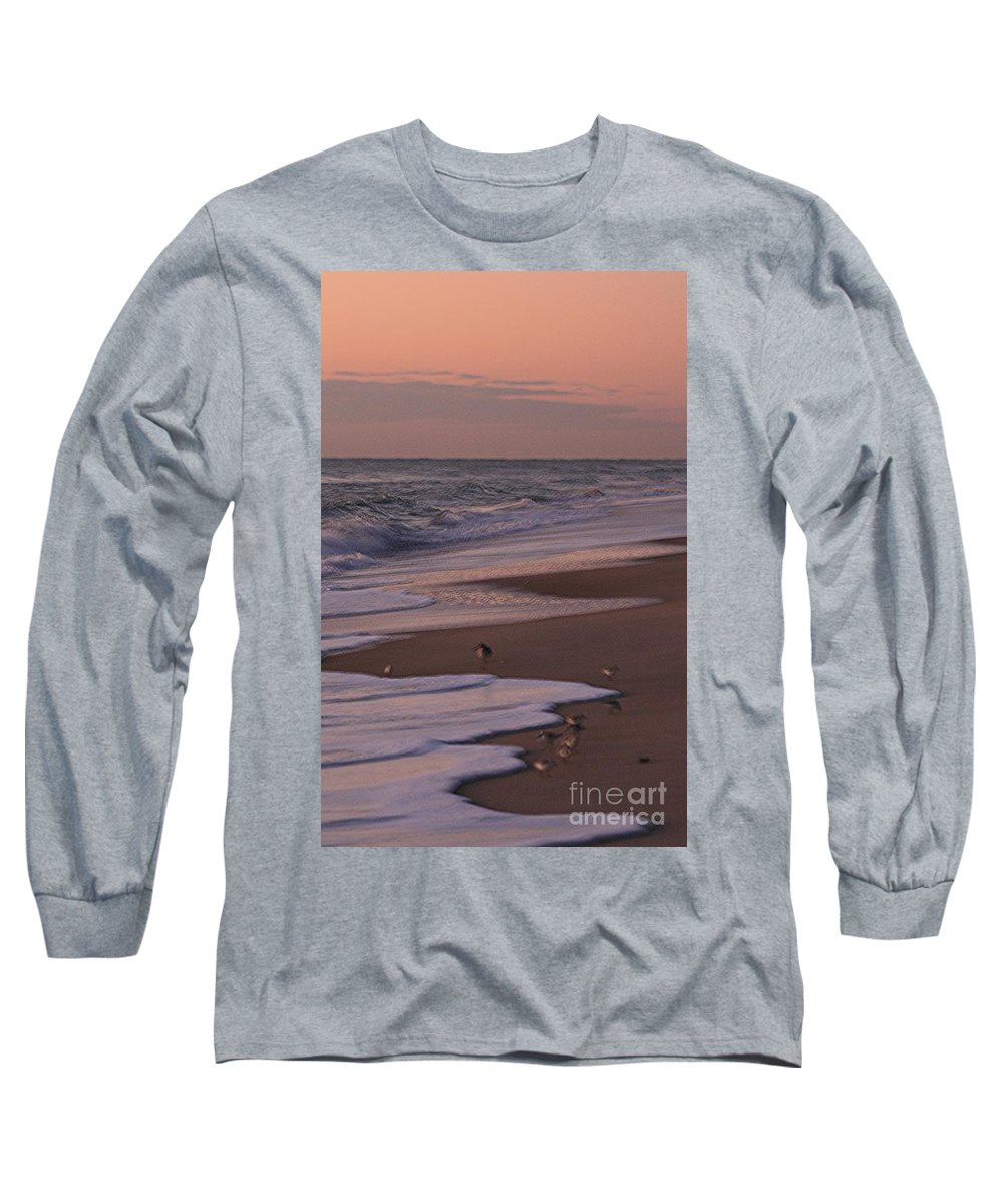 Beach Long Sleeve T-Shirt featuring the photograph Morning Birds At The Beach by Nadine Rippelmeyer