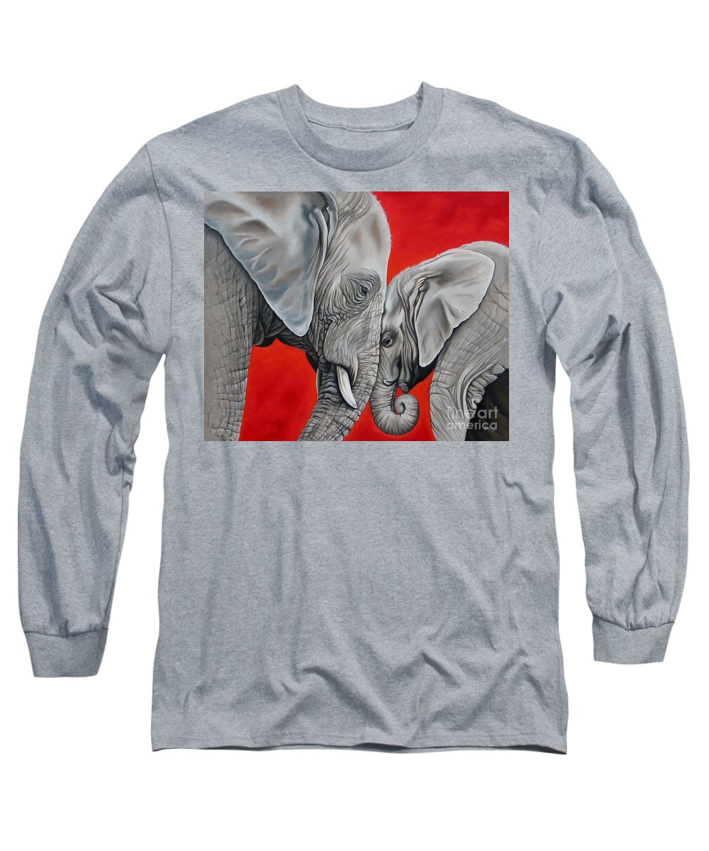 Elephant Long Sleeve T-Shirt featuring the painting Mothers Love by Ilse Kleyn