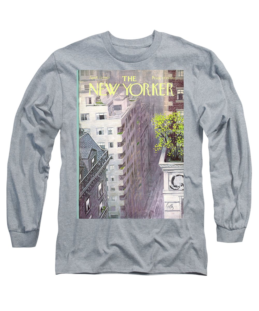 Arthur Getz Agt Long Sleeve T-Shirt featuring the painting New Yorker April 22nd, 1967 by Arthur Getz