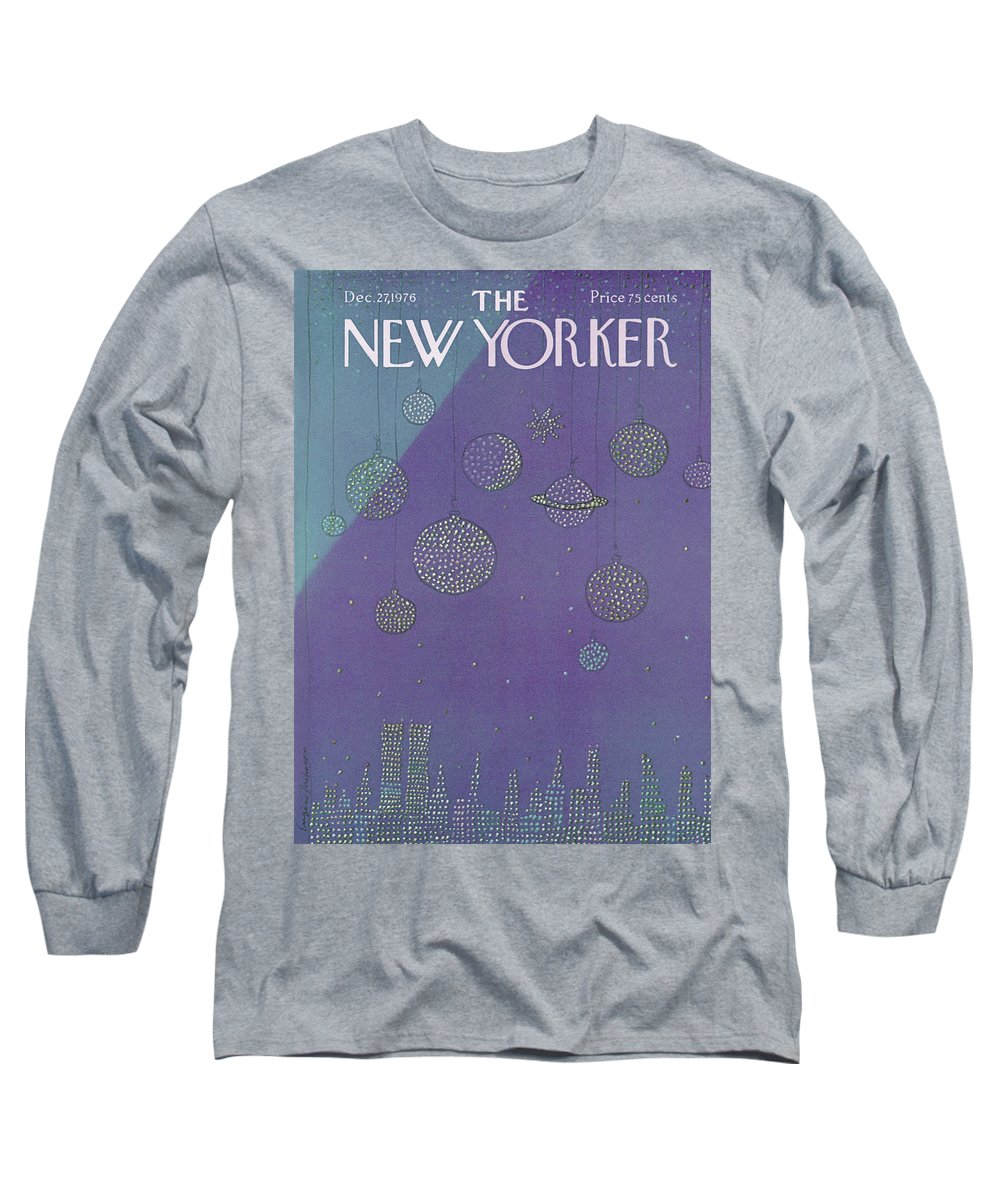Planets Long Sleeve T-Shirt featuring the painting New Yorker December 27th, 1976 by Eugene Mihaesco