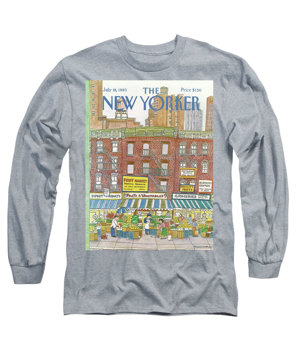 (a Row Of Fruit And Vegetable Markets And Grocery Stores On The Ground Floor Of Brick Buildings With Tall Apartment Buildings And Skyscrapers In The Distance.) New York City Shopping Urban Architecture Food Barbara Westman Bwa Artkey 47368 Long Sleeve T-Shirt featuring the painting New Yorker July 18th, 1983 by Barbara Westman