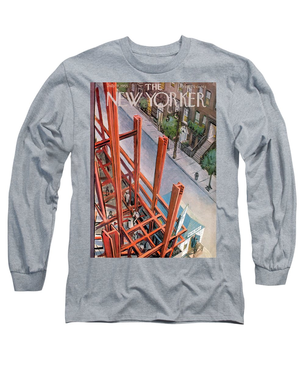 Urban Long Sleeve T-Shirt featuring the painting New Yorker July 9th, 1955 by Arthur Getz