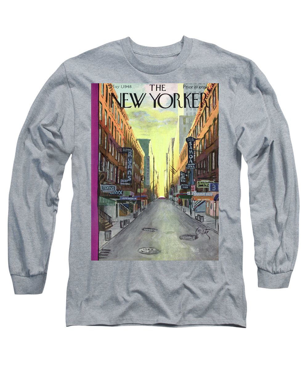 The Sun Rises On New York Jazz Clubs Of The 1940's Long Sleeve T-Shirt featuring the painting New Yorker May 1st, 1948 by Arthur Getz