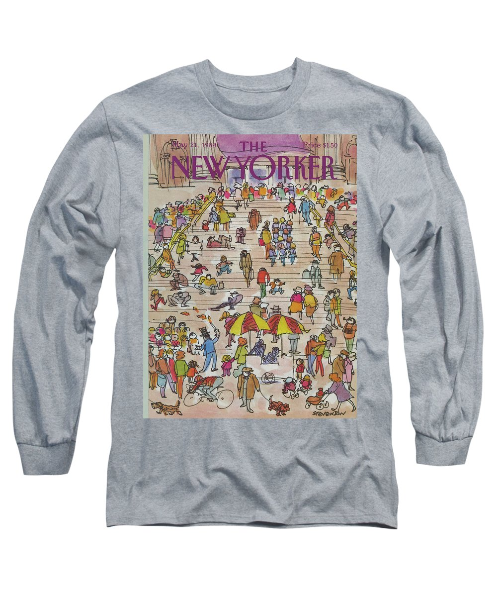 Metropolitan Museum Long Sleeve T-Shirt featuring the painting New Yorker May 21st, 1984 by James Stevenson