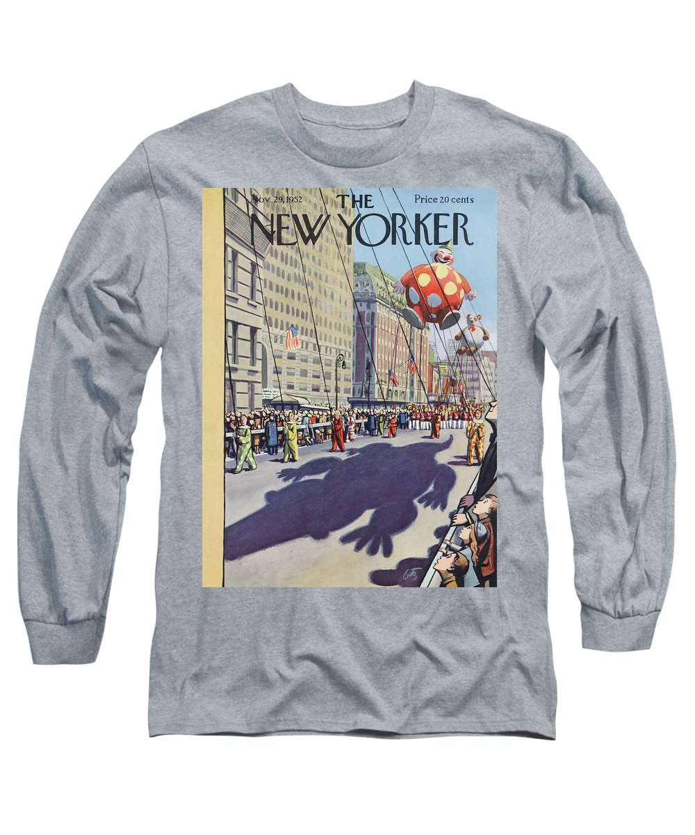Party Celebration Gathering Event Urban City Manhattan New York City Skyscraper Skyscrapers Macys Macy's Day Parade Thanksgiving Holiday Tradition Float Balloon Spectators Clown Arthur Getz Agt Sumnerok Artkey 49268 Long Sleeve T-Shirt featuring the painting New Yorker November 29th, 1952 by Arthur Getz