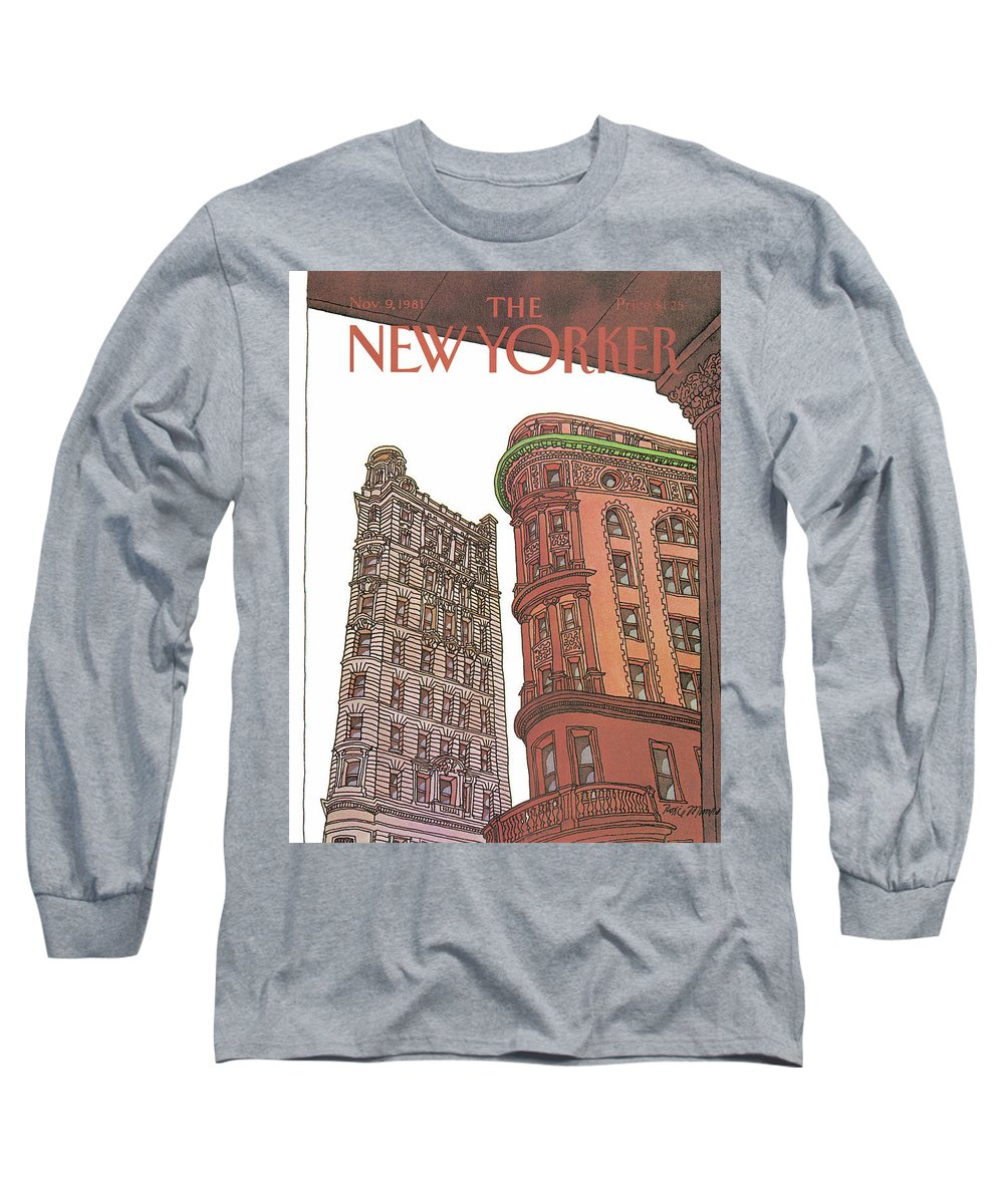 Business Offices Long Sleeve T-Shirt featuring the painting New Yorker November 9th, 1981 by Roxie Munro