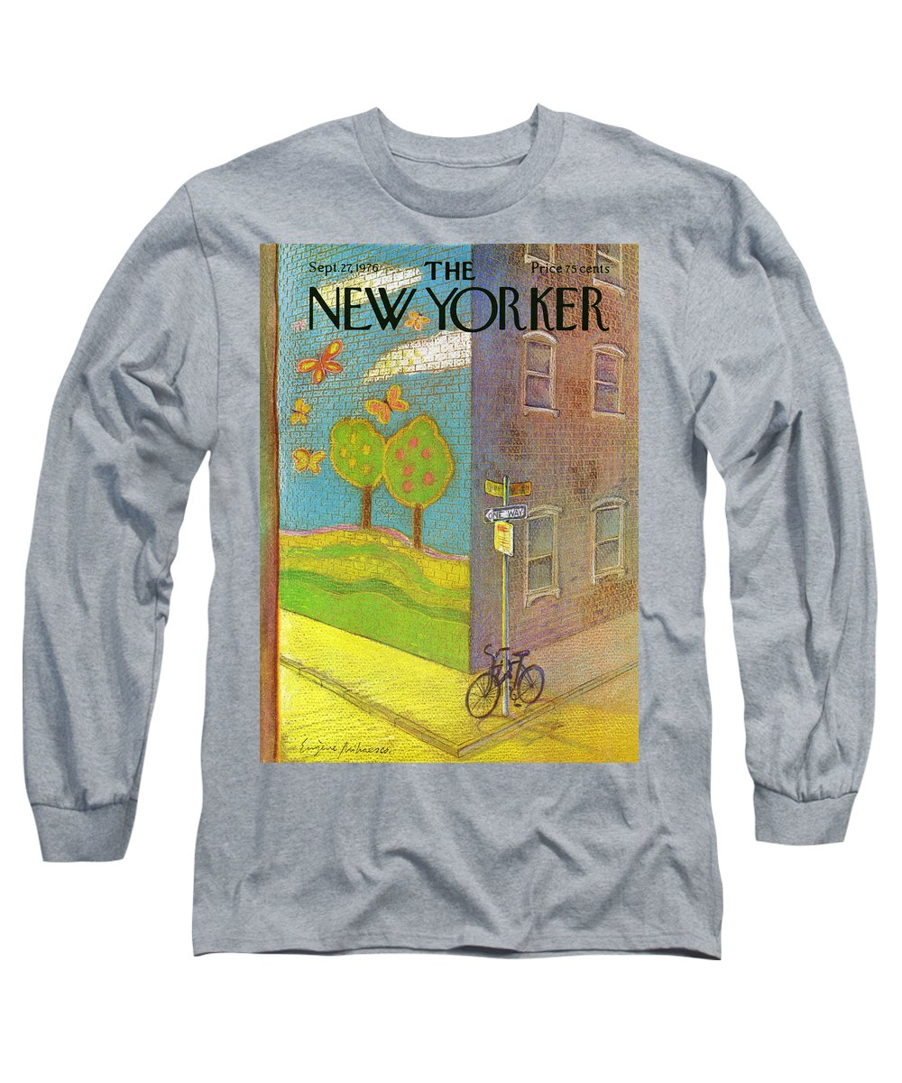 Mural Long Sleeve T-Shirt featuring the painting New Yorker September 27th, 1976 by Eugene Mihaesco