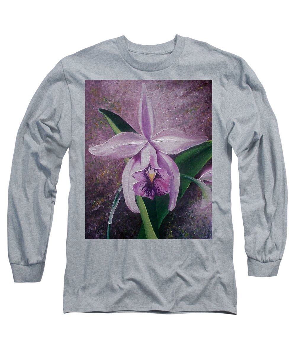 Orchid Purple Floral Botanical Long Sleeve T-Shirt featuring the painting Orchid Lalia by Karin Dawn Kelshall- Best
