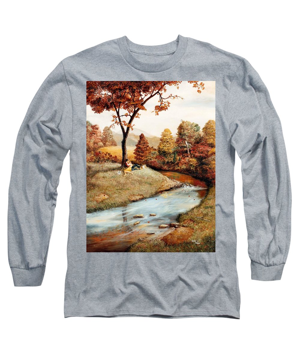 Rural Long Sleeve T-Shirt featuring the painting Our Secret Place by Duane R Probus