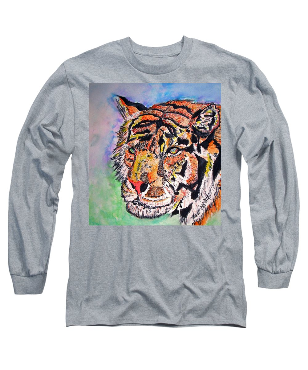 Abstract Long Sleeve T-Shirt featuring the painting Paradise Dream by Crystal Hubbard