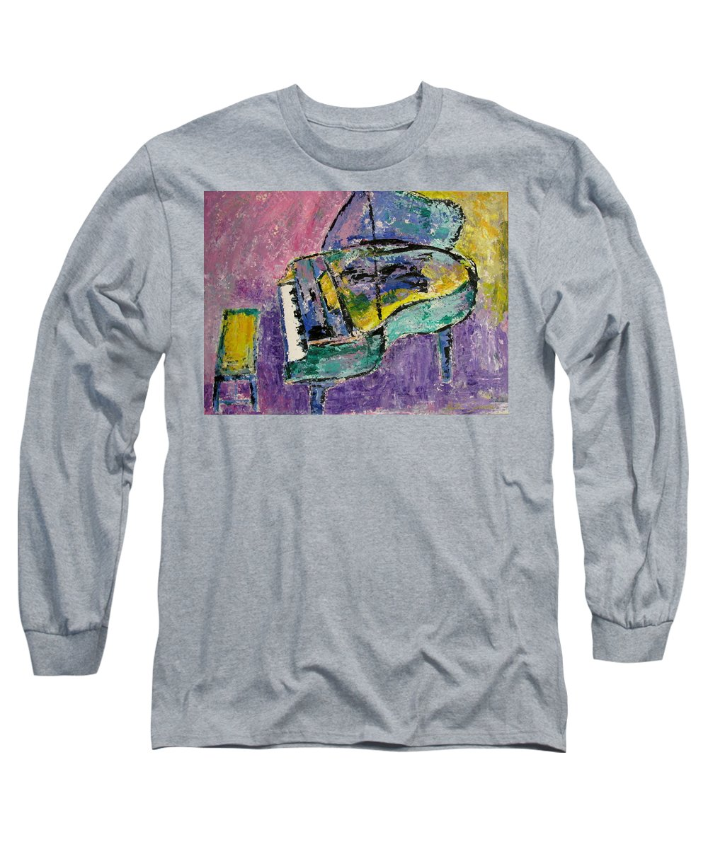 Impressionist Long Sleeve T-Shirt featuring the painting Piano Green by Anita Burgermeister