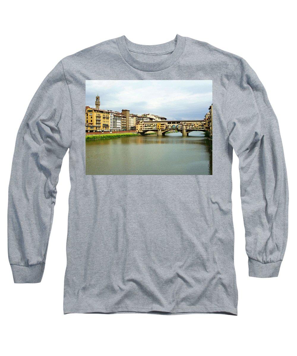 Ponte Vecchio Long Sleeve T-Shirt featuring the photograph Ponte Vecchio 1 by Ellen Henneke