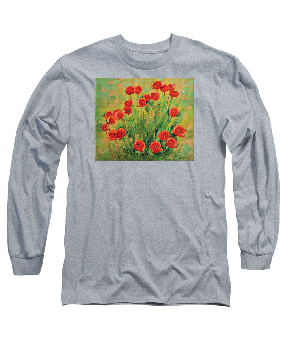 Poppies Long Sleeve T-Shirt featuring the painting Poppies by Iliyan Bozhanov