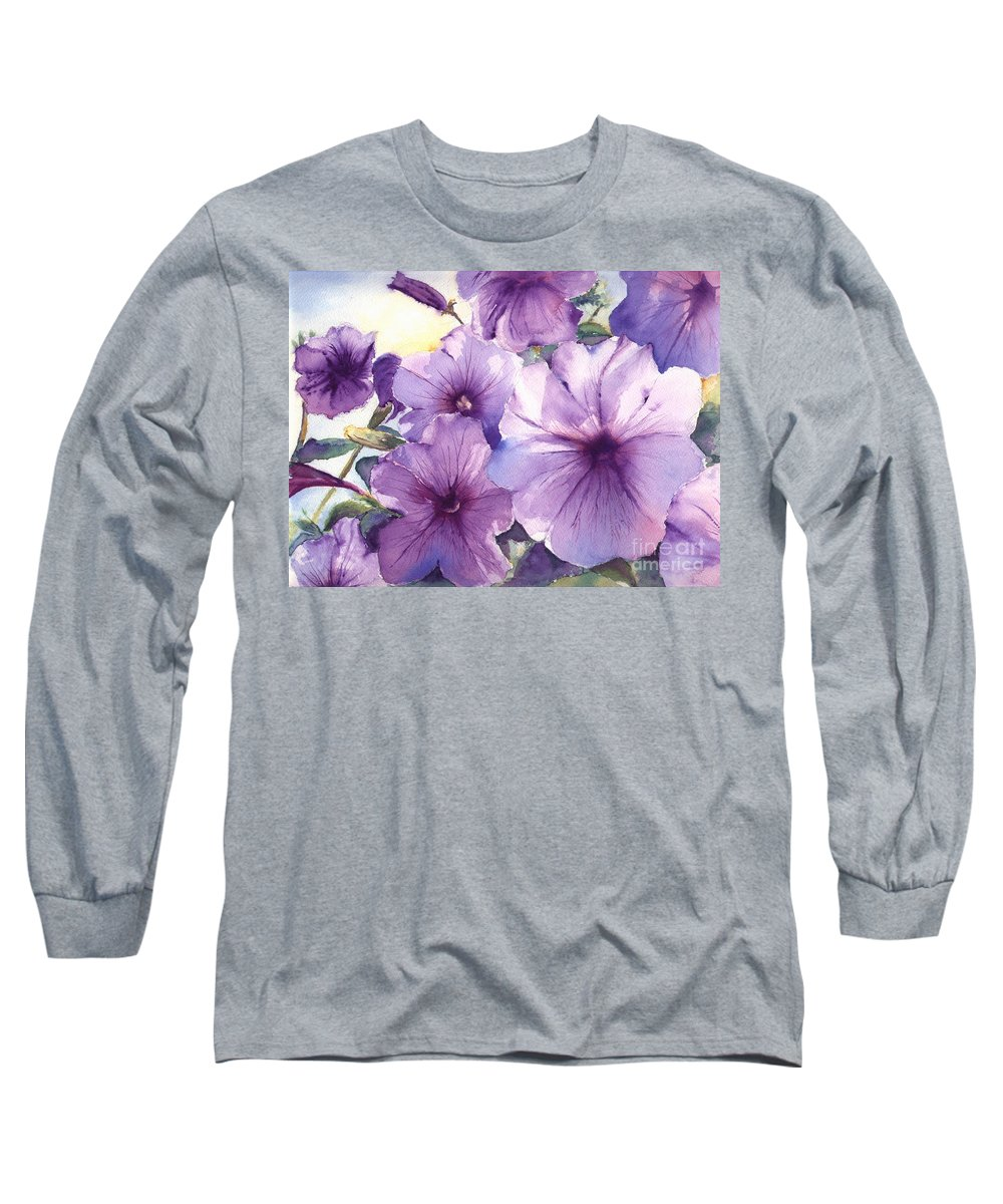 Purple Long Sleeve T-Shirt featuring the painting Purple Profusion by Patricia Henderson