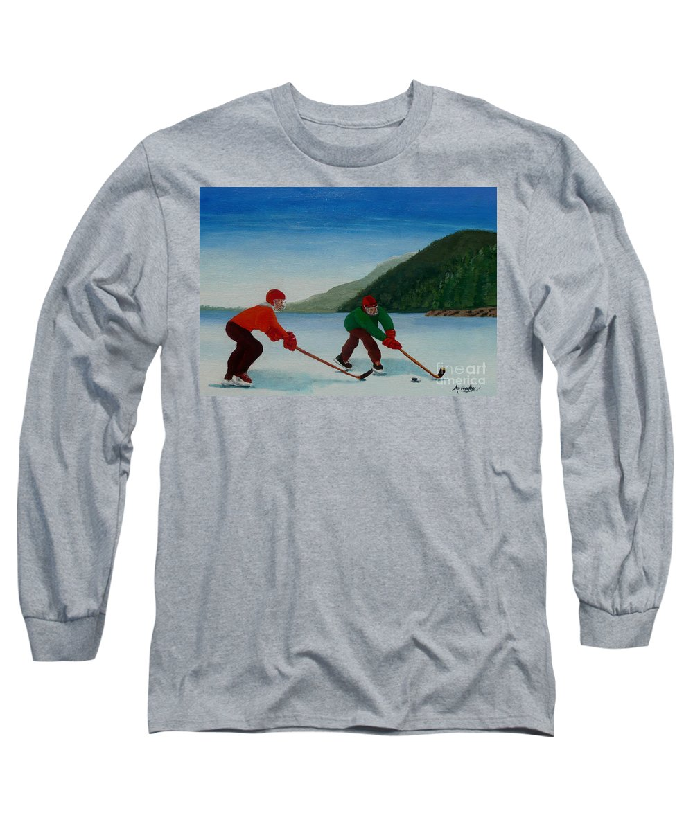 Pond Long Sleeve T-Shirt featuring the painting Reach For It by Anthony Dunphy