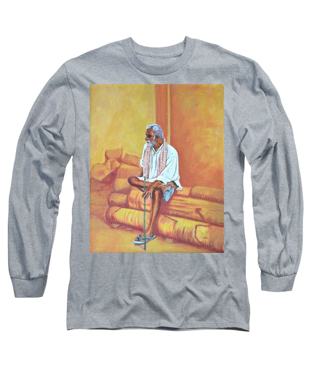 Usha Long Sleeve T-Shirt featuring the painting Reminiscing by Usha Shantharam