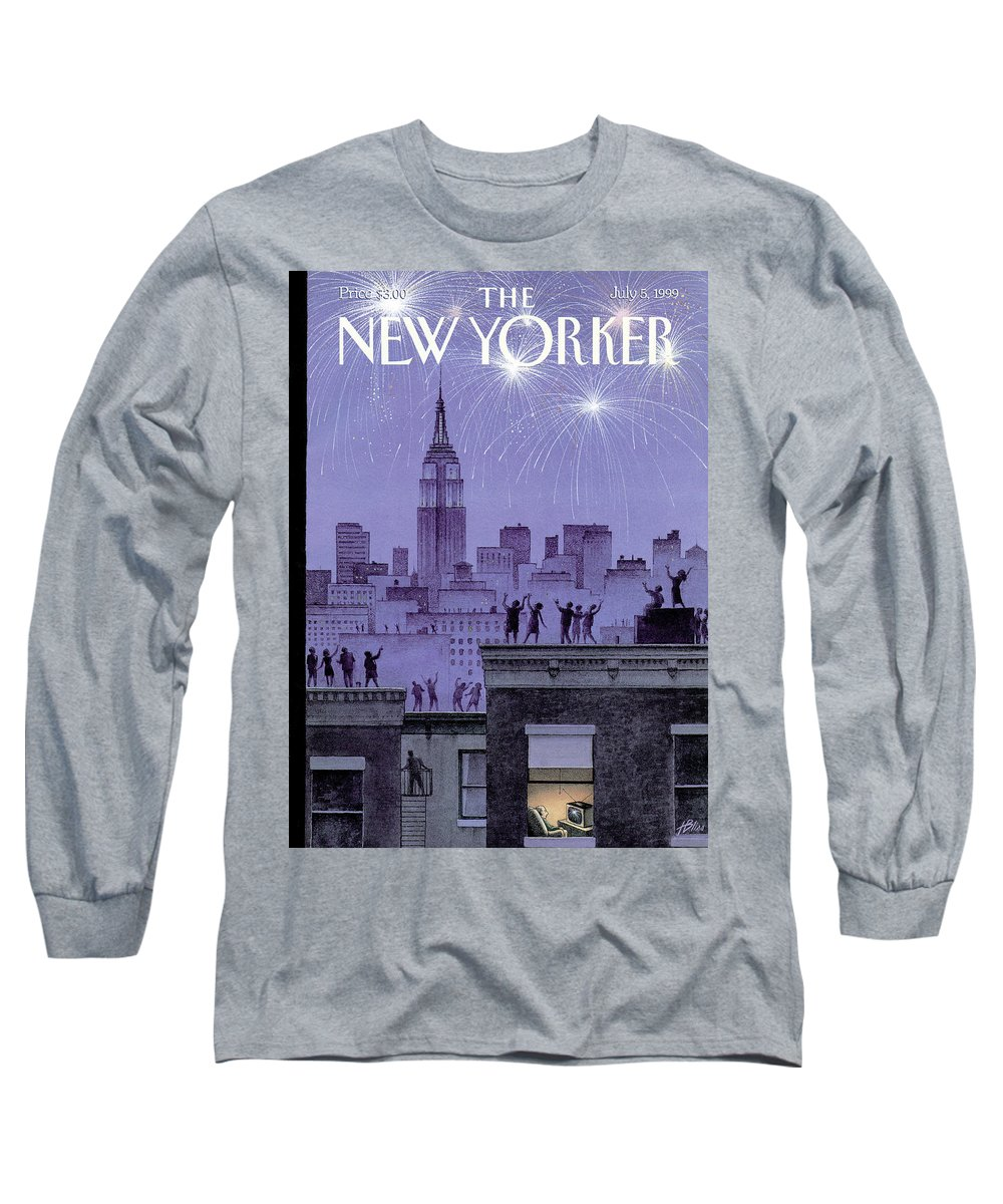Harry Bliss Hbl Long Sleeve T-Shirt featuring the painting Rooftop Revelers Celebrate New Year's Eve by Harry Bliss