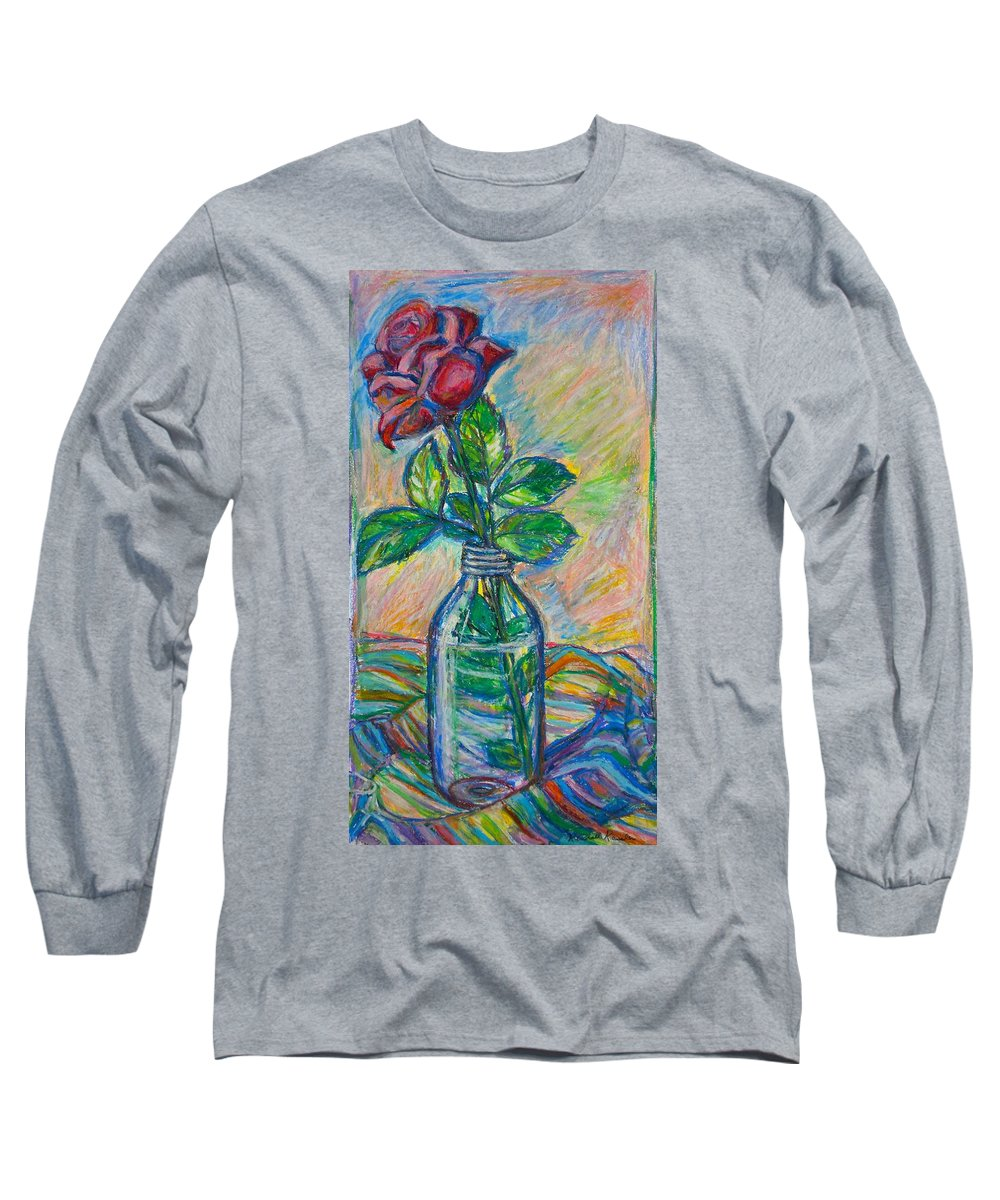 Still Life Long Sleeve T-Shirt featuring the painting Rose In A Bottle by Kendall Kessler
