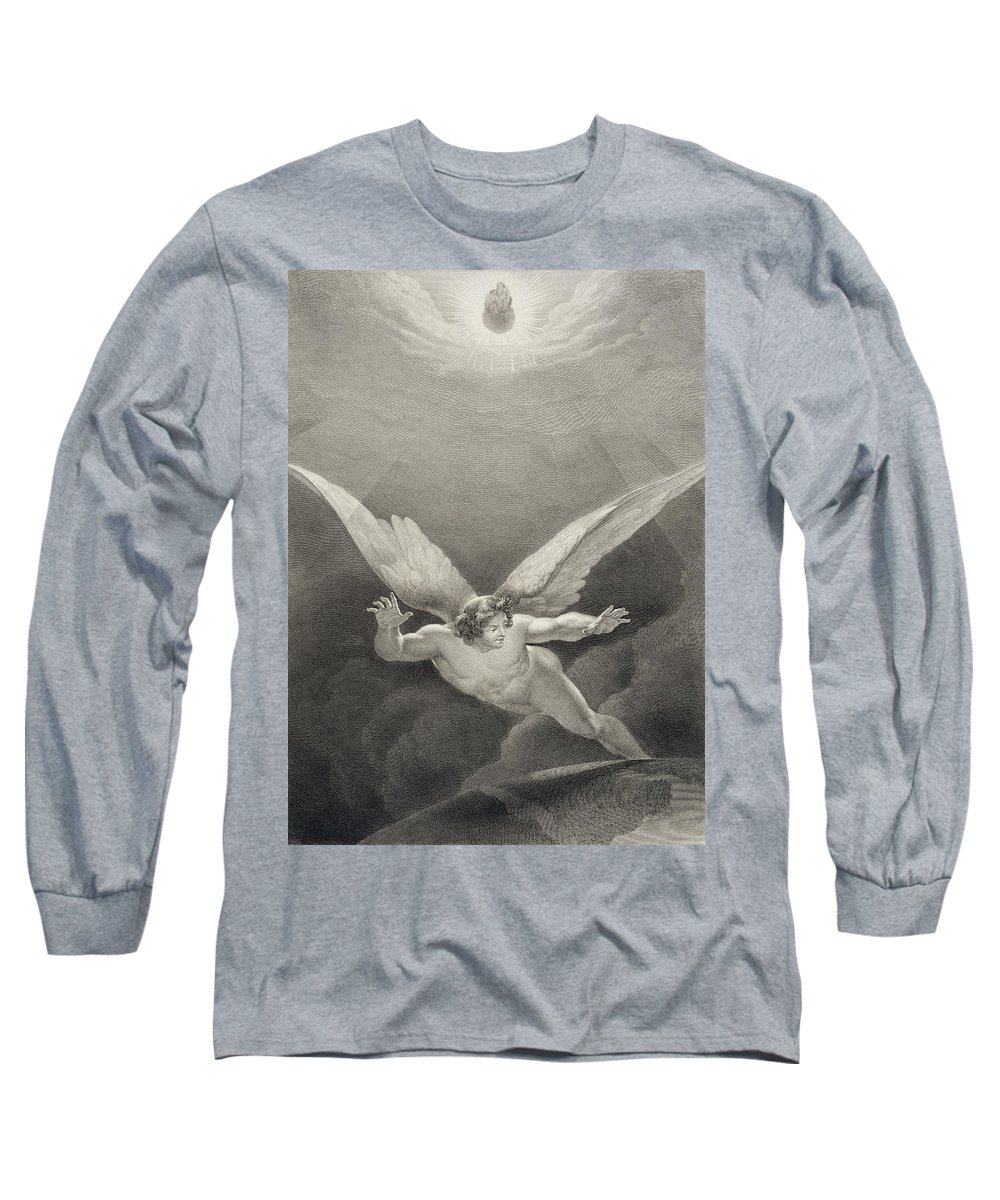 Devil Long Sleeve T-Shirt featuring the drawing Satan Leaps Over The Walls Of Heaven by Richard Edmond Flatters