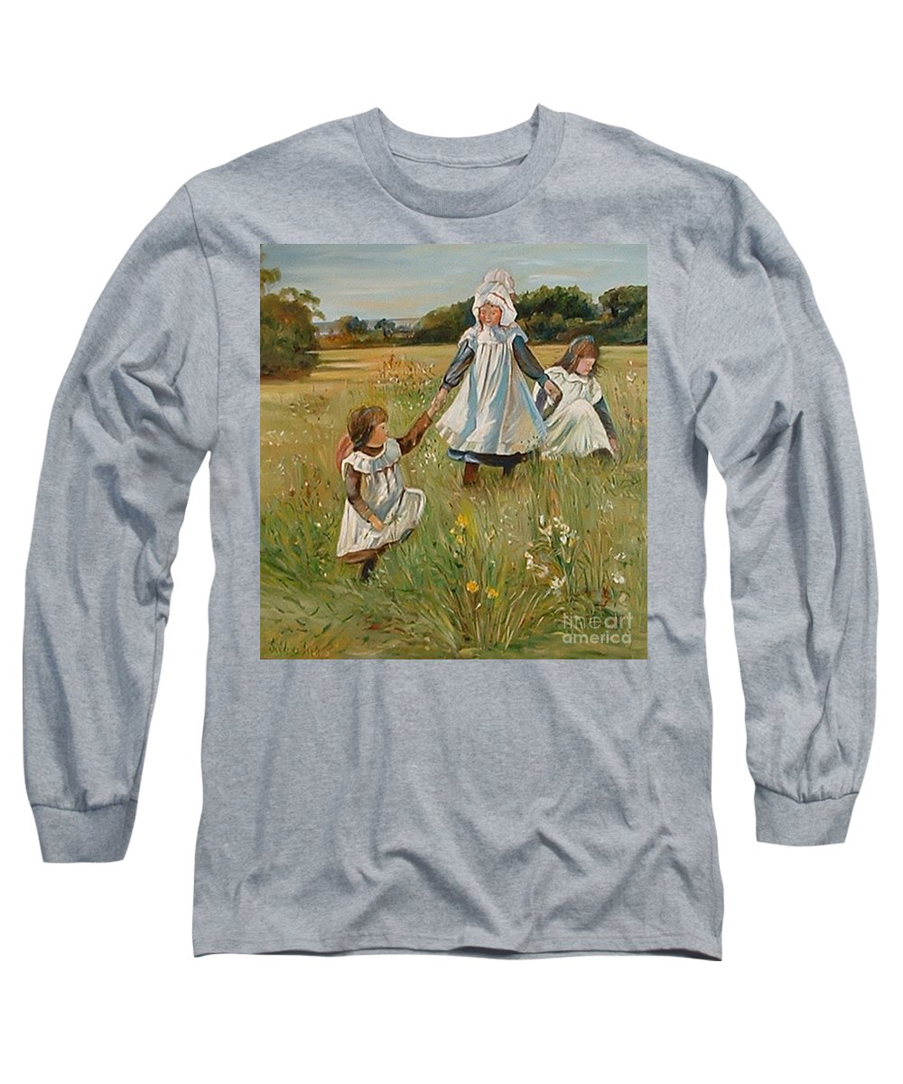 Classic Art Long Sleeve T-Shirt featuring the painting Sisters by Silvana Abel