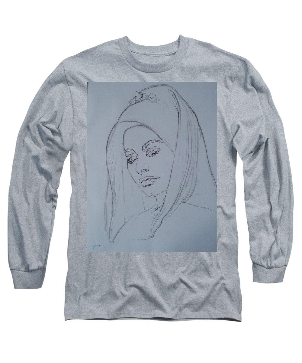 Woman Long Sleeve T-Shirt featuring the drawing Sophia Loren In Headdress by Sean Connolly