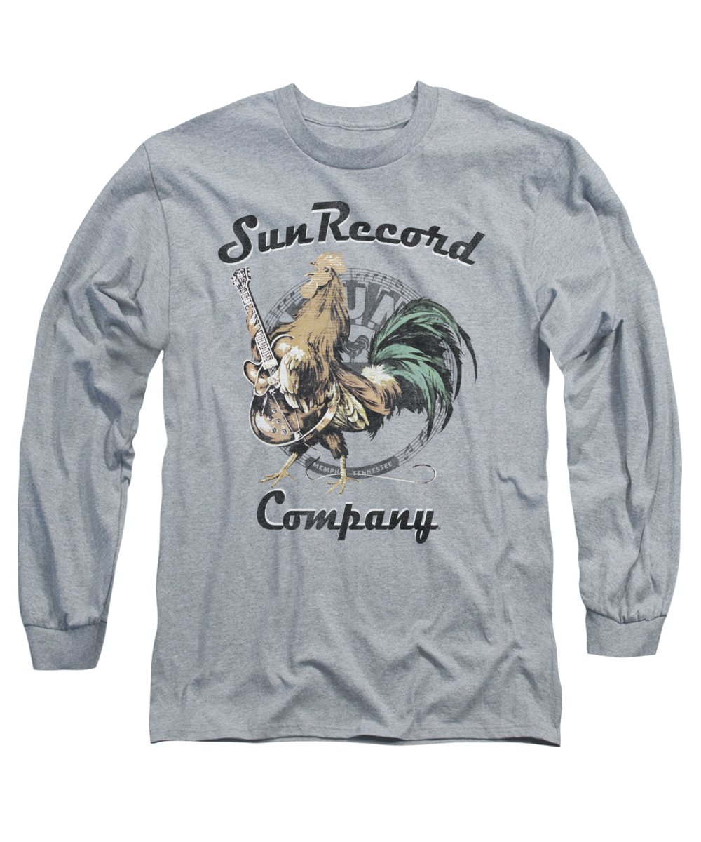 Sun Record Company Long Sleeve T-Shirt featuring the digital art Sun - Rockin Rooster Logo by Brand A