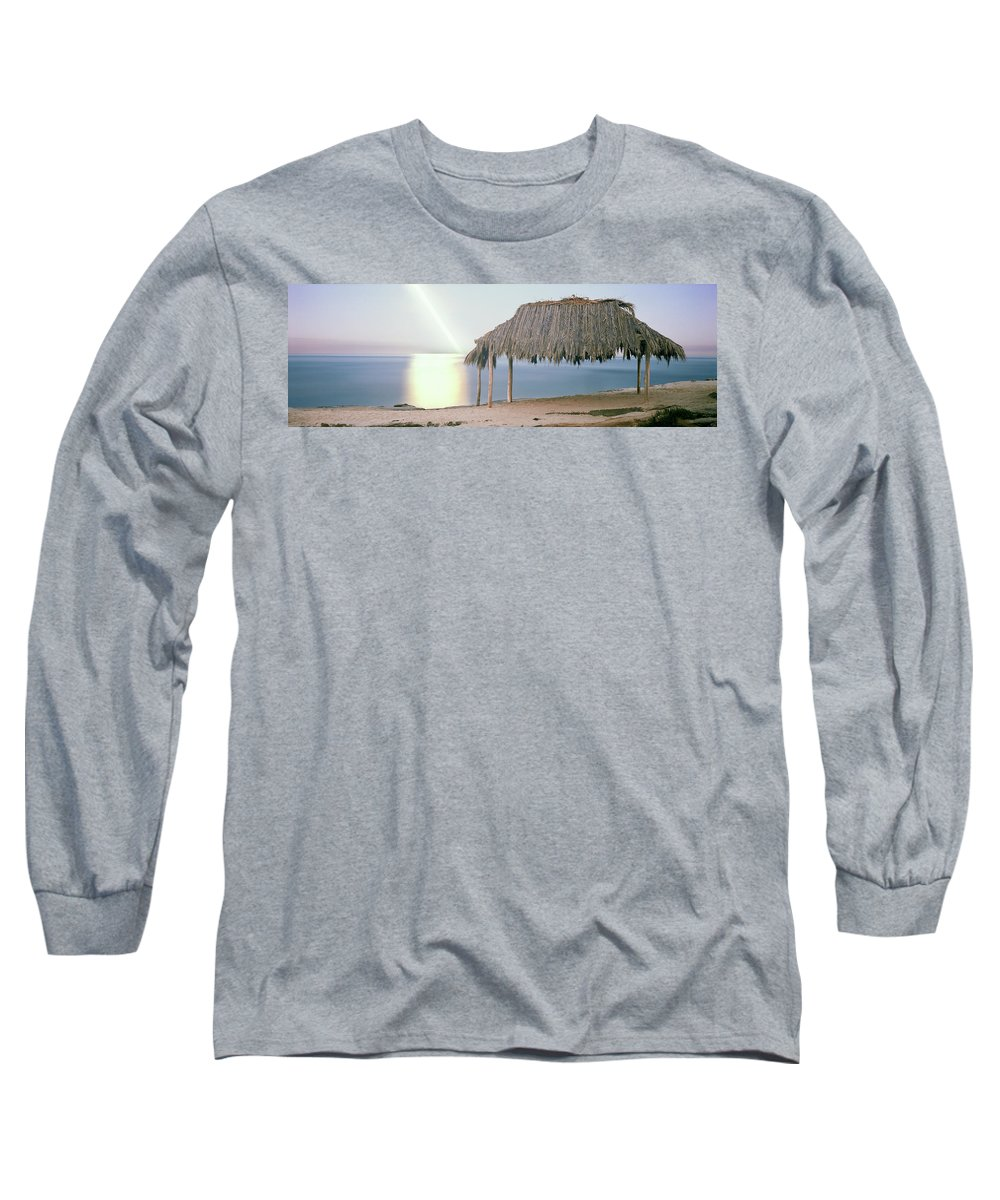 Photography Long Sleeve T-Shirt featuring the photograph Thatched Roof On The Beach, Windansea by Panoramic Images