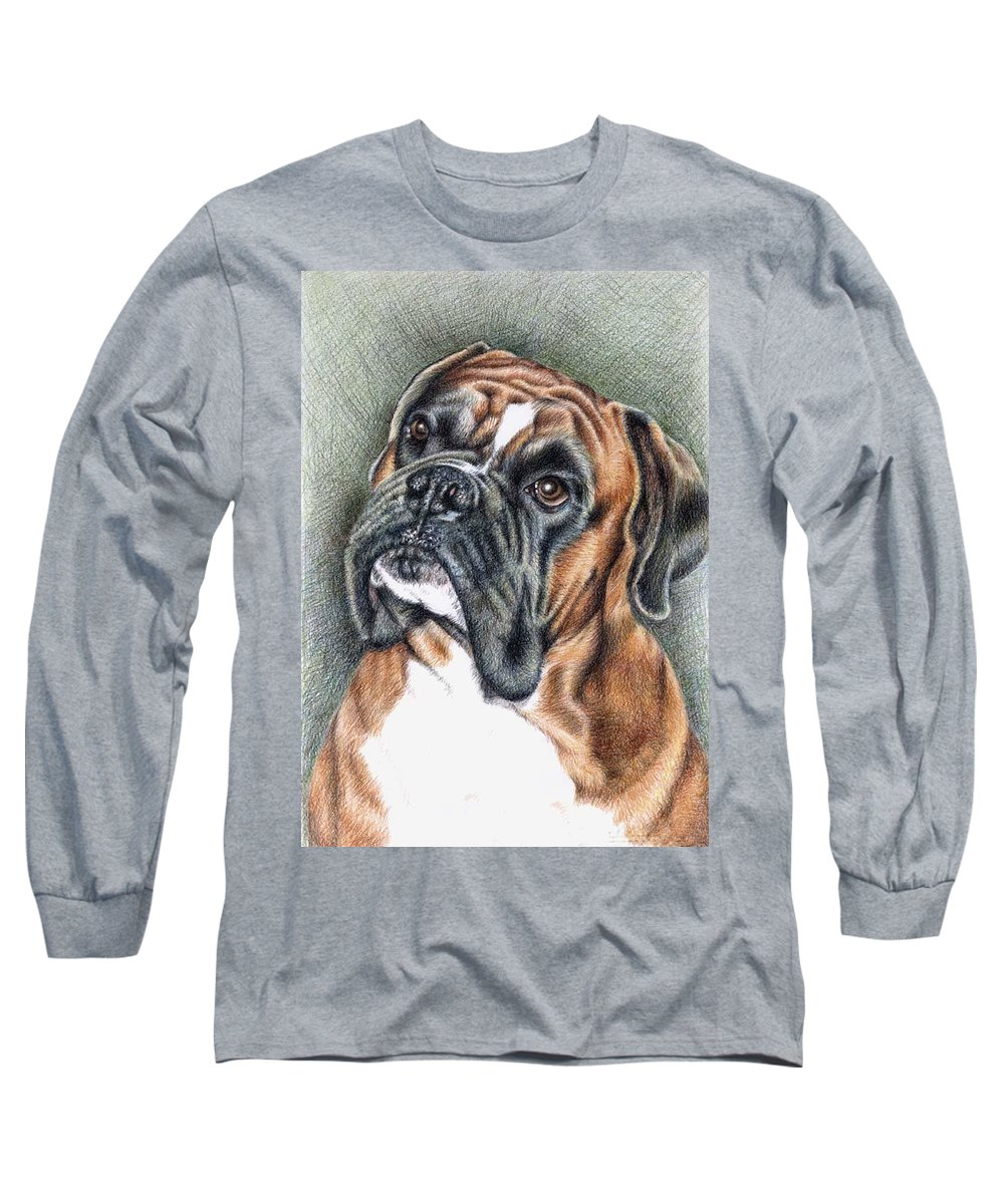 Dog Long Sleeve T-Shirt featuring the drawing The Boxer by Nicole Zeug