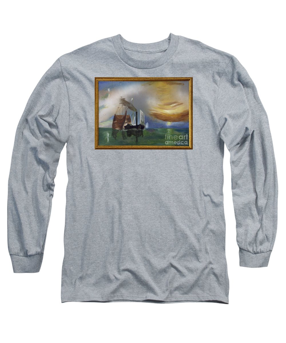 Battle Of Trafalgar Long Sleeve T-Shirt featuring the painting The Fighting Temeraire 1837 by Richard John Holden RA