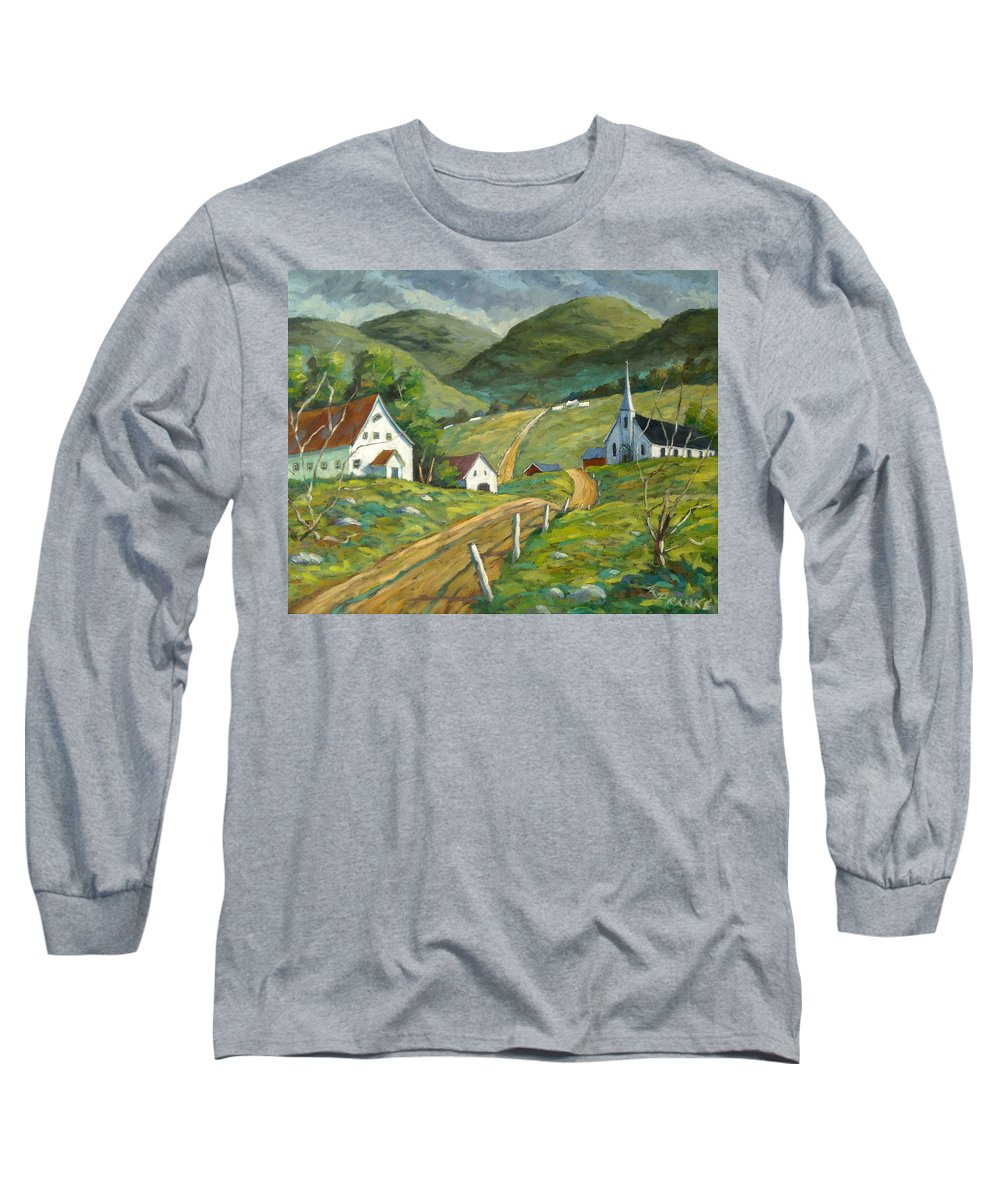 Hills Long Sleeve T-Shirt featuring the painting The Green Hills by Richard T Pranke