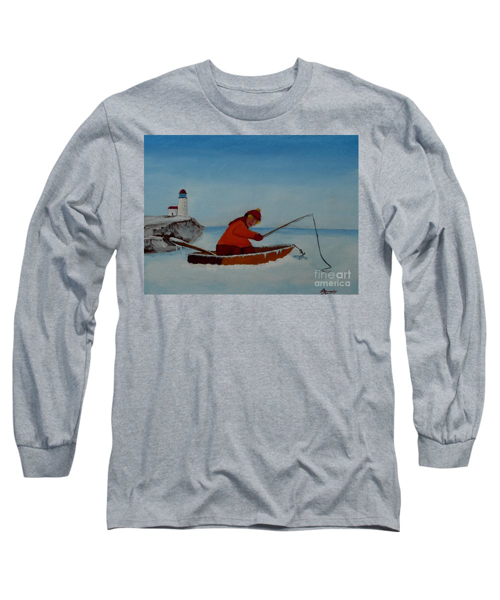 Stupid Long Sleeve T-Shirt featuring the painting The Ice Fisherman by Anthony Dunphy