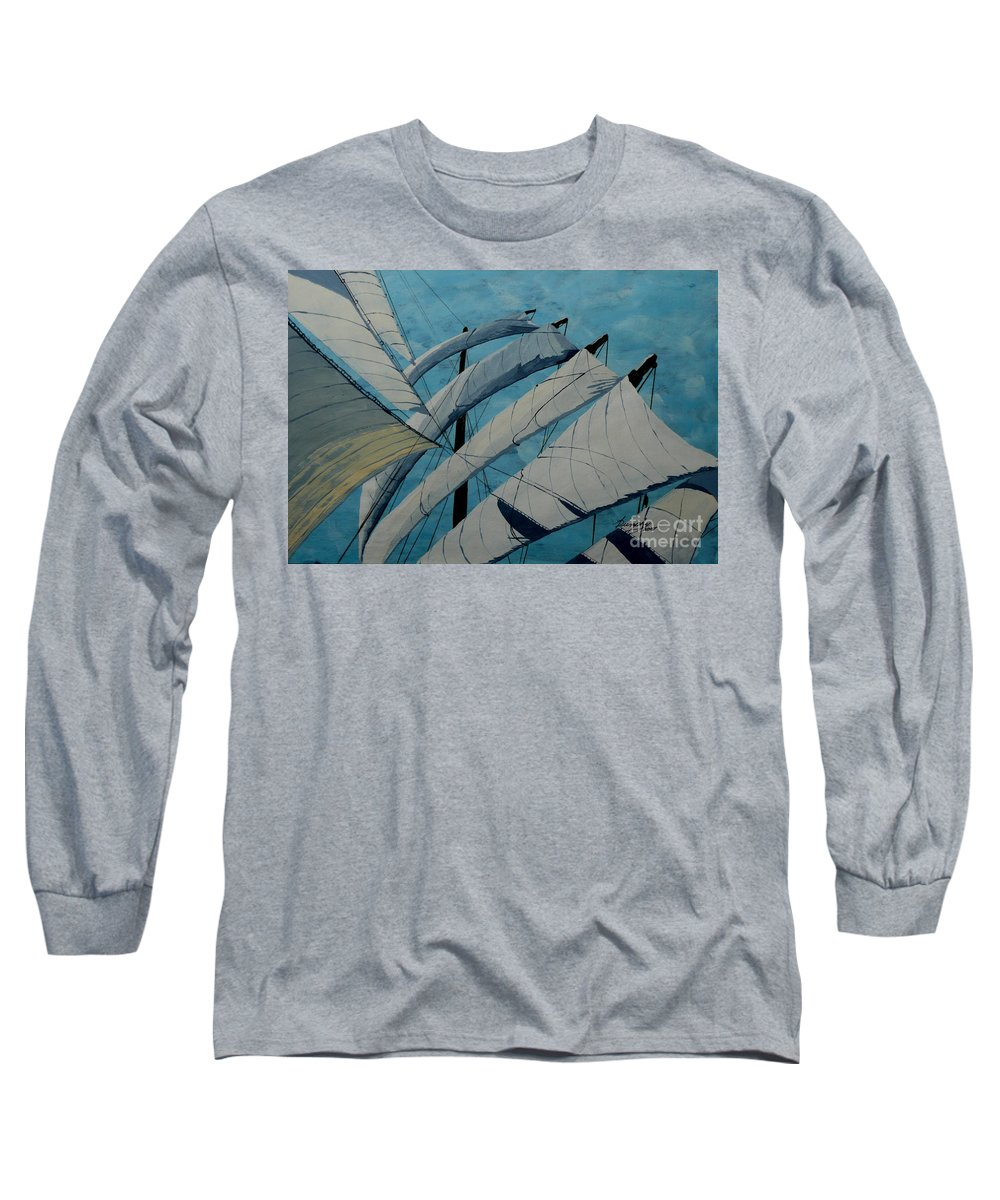 Sails Long Sleeve T-Shirt featuring the painting The Tower Of Power by Anthony Dunphy
