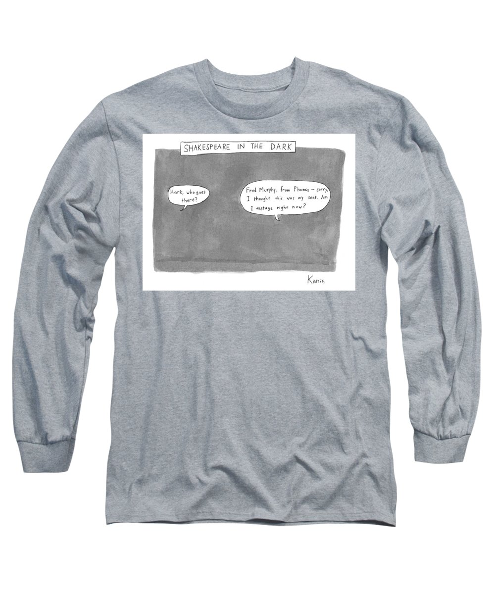 Romeo And Juliet Long Sleeve T-Shirt featuring the drawing There Is A Dark Scene With Two Word Bubbles by Zachary Kanin