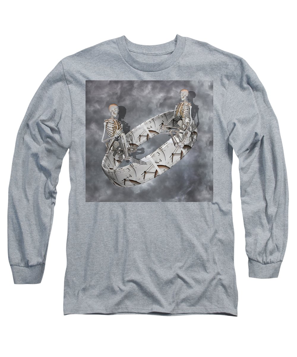 Skeleton Long Sleeve T-Shirt featuring the digital art Time Management by Betsy Knapp
